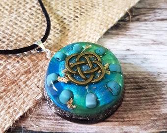 Turquoise Orgone Energy Pendant - Positive Energy Necklace - Spiritual Gift and Energy Healing Jewellery -  Celtic Knot - OOAK - Medium