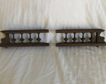 Pair of Antique Ornate Carved Wood Rails Architectural Salvage