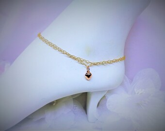 Rose Gold Anklet Rose Gold Double Chain Ankle Bracelet 14k Gold Filled Anklet Rose Gold Heart Anklet 14k Gold Filled Anklet BuyAny3+1Free