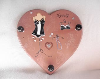Coat hanger, coat hanger, jewelry door - wood heart - decoration lingerie, corset, necklace - wall decoration - black and white