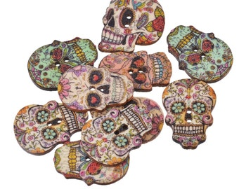 Mixed Wooden Sugar Skull Buttons - Package of 50