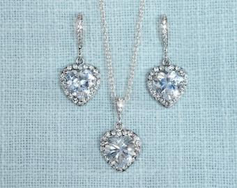 Handmade Cubic Zirconia CZ Heart Halo Dangle Bridal Earrings & Necklace Set, Bridal, Wedding (Sparkle-2684)