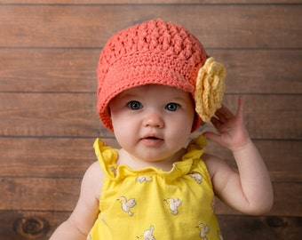 Hat Newsboy | Cotton Crochet | Brimmed Hat | Flower Hat | Childrens Hats | Kids| Summer Hat | Newsboy Cotton Hat | Peaked Cap| Free Shipping