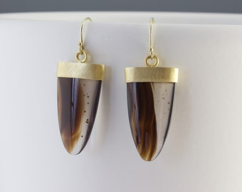 Montana Agate Cabochon Earrings - 18 Karat Gold Long Drop Gemstones - Bezel Set - Dendritic Agate Jewelry