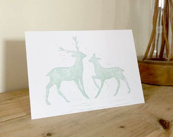 4 x LINOCUT CHRISTMAS CARDS deer and stag