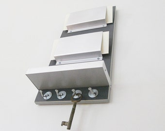 OFFICE MAIL ORGANIZATION: Modern Two Color Design with Shelf and Key Hooks with Metal Details for Home, Office or Dorm.