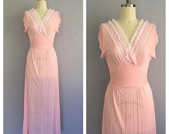 Peony slip | 1940s boudoir lingerie | 40s pink nightgown | s - m