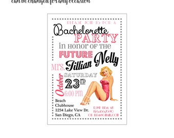 Vintage Pin Up Invitation 4x6 or 5x7 digital you print your own- Design 81