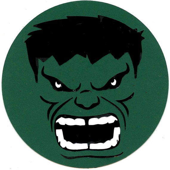marvel s the incredible hulk face logo scrapbook die cut rh etsy com Incredible Hulk Face Incredible Hulk Face