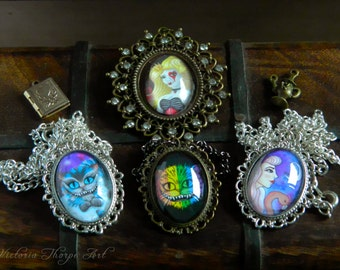 Necklaces - Alice in Wonderland Handmade Artwork Cheshire Cat Queen of Hearts Rainbow Flamingo Fantasy Art Galaxy Fairytale Story Cabochon