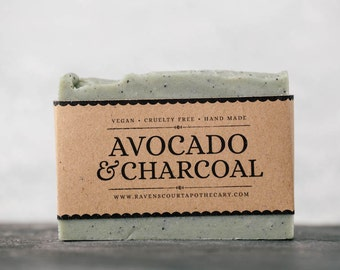 Avocado and Charcoal Soap | Unscented Vegan Soap