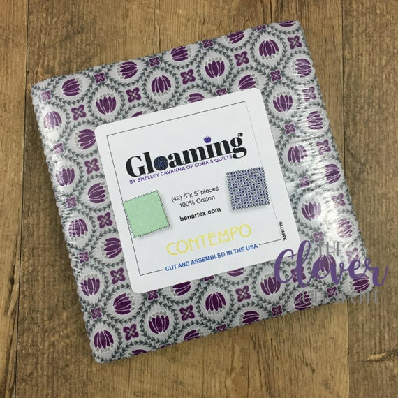 Charm Pack Squares, Contempo, Gloaming, Shelley Cavanna, 42 pcs, Precut Fabric, Quilting Fabric, Navy, Purple, Teal, Floral, Geometric, Gray