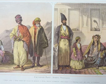 1882 Human Races - Kurds and Persians Original Antique Lithograph, 11 x 14 inches - Home Decor - Anthropology - Races - Humans