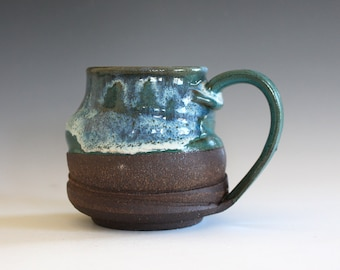 unique coffee mug, 11 oz, coffee mug pottery, stoneware mug, wheel thrown mug, hand thrown coffee cup, ceramic mug, pottery mug
