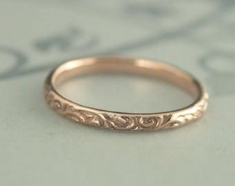 Women's Wedding Band~Rose Gold Ring~Rose Gold Band~Vintage Style Band~Women's Wedding Ring~Wedding Band~Antique Style Band~Skinny Flourish