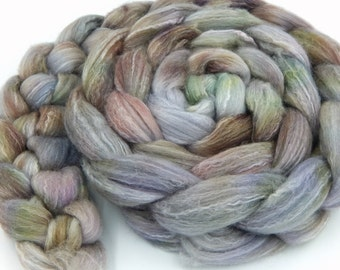 Sleeping Earth 6 oz 170 g Merino Bamboo 60/40 Handpainted Combed Top Wool and Bamboo Fiber Roving for Spinning