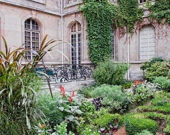 Paris photography - Secret Paris Courtyard - Fine art photography - windows, garden - Vintage beauty -  dreamy - green, taupe, red