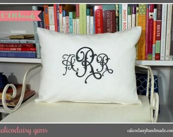 calicodaisy gems - Monogrammed Pillow Cover - Lumbar 12 x 16 - Choice of Colors