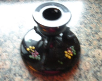 Black Glass Candle Holder with Hand Painted flowers