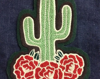 Chainstitched saguaro & roses patch!