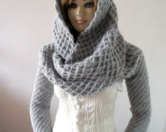 KNITTING PATTERN HOOD scarf with Sleeves Hooded Scarf Pattern Khloe Scarf with sleeves Chunky Scarf Long Sleeves, pdf files Instant Download