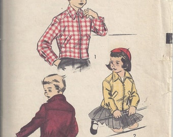 Advance 6269 Vintage Sewing Pattern  ca. 1953; Boys' and Girls' Jacket. Chest 23