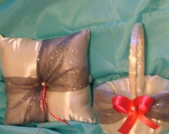 custom made ring pillow and basket