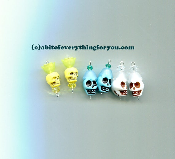 day of the dead sugar skull flower charms pendants plastic bead drops 25mm goth