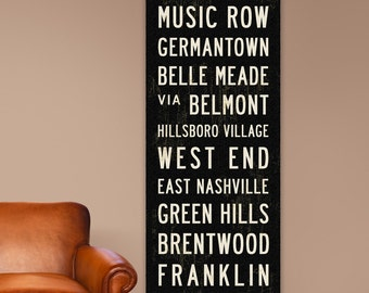 NASHVILLE Subway Art, Southern Home Decor, Nashville Subway Sign, Nashville Art, Rustic Wall Art, Nashville Poster, Industrial Decor, 20x60.