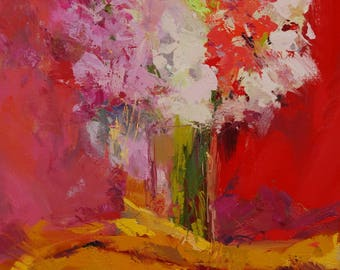 Red painting, Original still life painting of Gladioli wall art, Floral oil painting on canvas