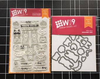 DESTASH: Wplus9 BUNNY Mask-erade Clear Stamps and Die Set