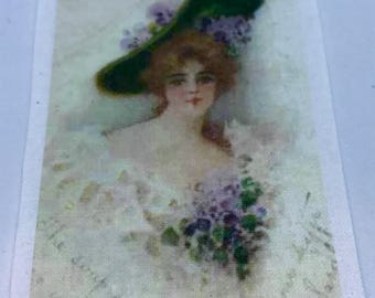 Vintage fusible image for crazy quilting ~ Lady with Green Hat