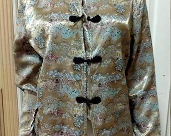 "1970s Vintage Ivory Biscotti Satin Jacket - Ivory Chinese Embroidered Cheongsam Top - Satin Brocade Cheongsam Jacket Top Small B 34"""