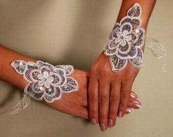 Wedding Gloves, Bridal Gloves, Holographic Gloves, Lace Gloves, Fingerless Gloves, White gloves,Party Gloves Evening Gloves,Christmas Gloves