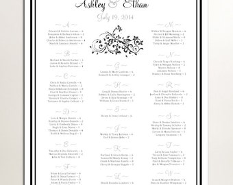 Damask Swirl Seating Chart for Table Assignments for your Wedding Reception - Printable PDF File