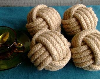 6 singe poings. Knots.Natural nautique tressé en corde. Nombre de Wedding.Table porte des noeuds.  4 cm diamètre du noeud.