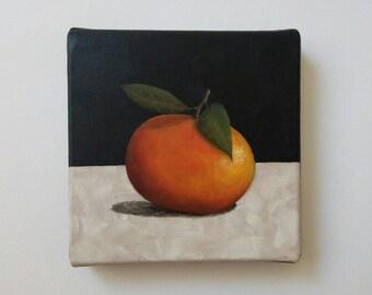 Tangerine Painting, Clementine Painting, Original Still Life Painting, 6x6 Canvas, Small Fruit Painting, Kitchen Art, Mandarin Painting