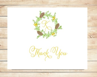 Pine Cone Thank You Cards - Fall, Winter Stationery