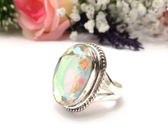 Vintage Mystic Topaz Quartz  Ring UK Size:S Silver Plated Vintage Jewelry indian Jewelry