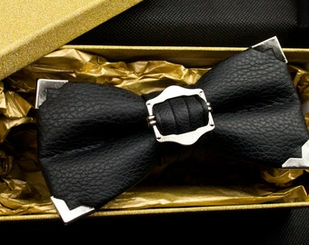 Silver Tipped Black Leather Buckle Bow Tie