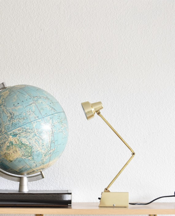 mid century industrial adjustable gold office tensor lamp / small desk lamp