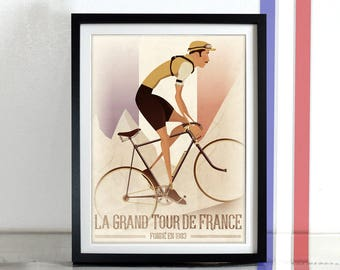 Tour De France Vintage Style Art Print Bicycle Bike Poster Wall Art Print Home Décor cycling bicycle cycling cycle