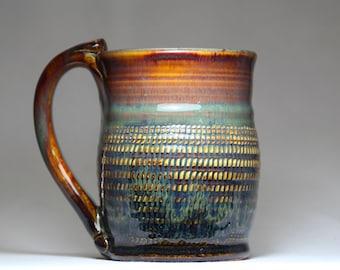 14oz stoneware pottery mug, pottery coffee cup