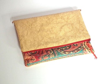 Foldover Clutch Bag, Cross-Body Bag, Sand Textured Fabric, Detachable Strap, OOAK, UK Seller