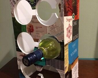 Wine label wine rack