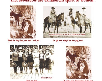 Cowgirls of the Old West - set of 4 greeting cards honoring women, friend, sister, sistah, shero, rodeo, girlfriend, woman, humor, strength,