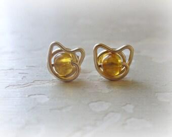 Gold Cat Studs, Tiny Cat Earrings, Yellow Cat Earrings, Amber Earrings, Kitty Cat Earrings, Small Cat Earrings, Gold Stud Earrings