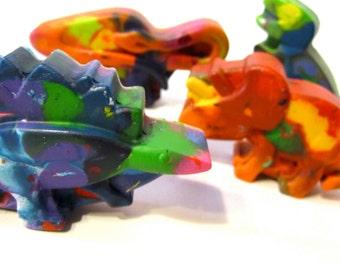 Kids DINOSAUR Crayons - Jumbo Dinosaur Recycled Crayons - Set of 4 Recycled Rainbow Crayons for Kids