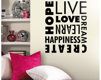 Love Words Decal, Words Dream Happiness Decal, Words Home Decor, Hope Believe Create Wall Decal, Vinyl Wall Stickers, wall decal quote