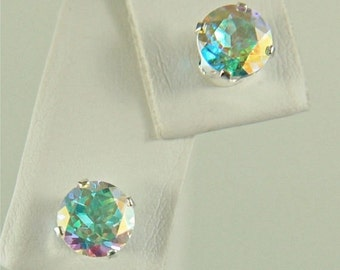 Opalescent Topaz Studs 6mm 2ctw Sterling Silver Earrings Rainbow of Colors